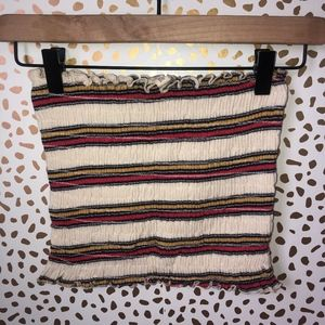 Sky and Sparrow Cinched Ruffle Striped Tube Top
